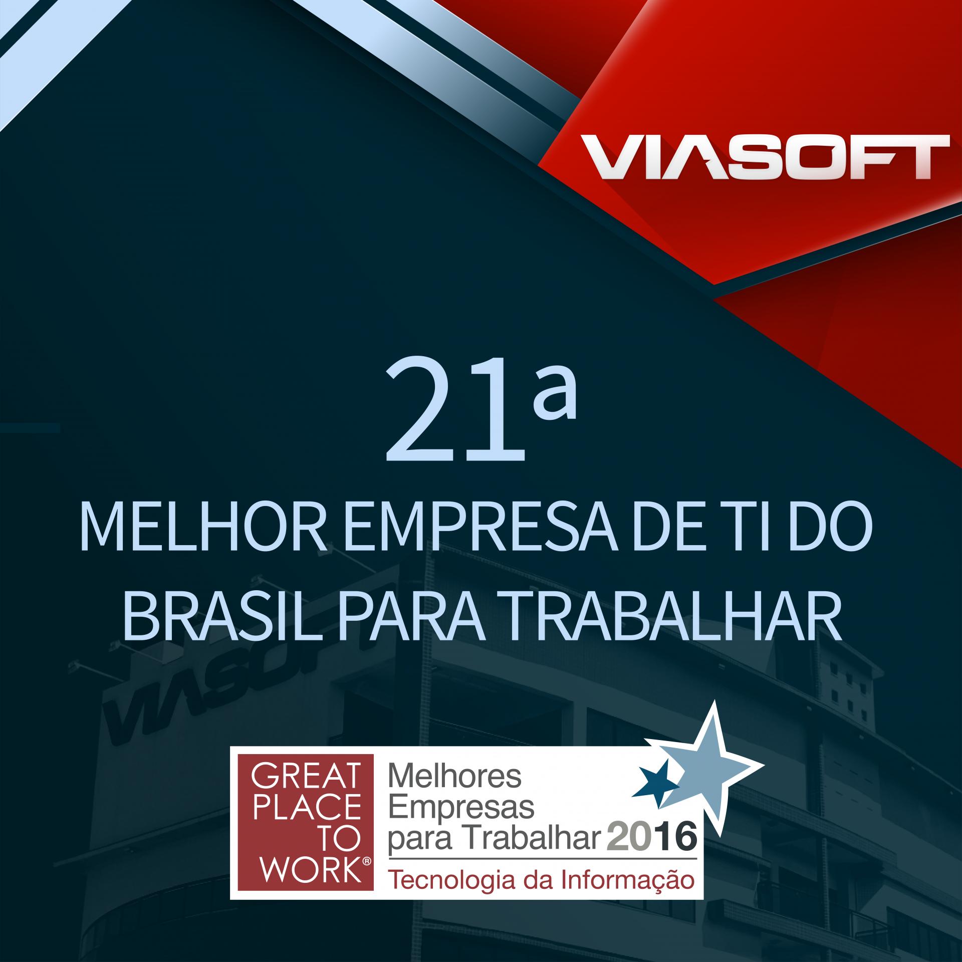 VIASOFT no ranking das melhores empresas de TI para trabalhar no Brasil